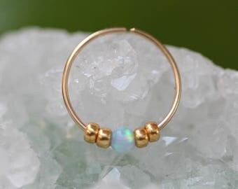 Nose Ring,Gold Nose Ring,tiny opal nose ring,nose ring 24g,thin nose ring,small nose ring,nose ring gold filled,nose ring body jewelry