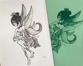 Green Faerie Original Artwork Cards