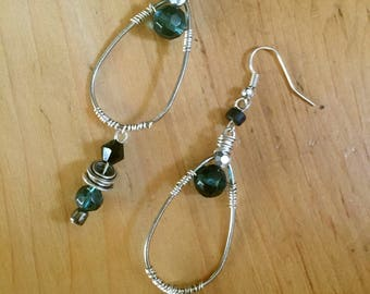 Silver, dangle, wire wrapped