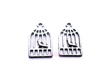 Set of 15 charms birds in cage REFP168X3