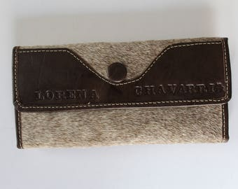 Vintage LORENA CHAVARRIA pony skin leather wallet/ Brown and beige pony skin and leather wallet/ Unique ladies wallet