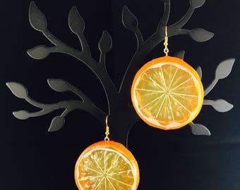 Fruit slice resin earrings w/ gold or silver plated hooks