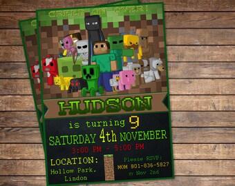 Minecraft Invitation Etsy