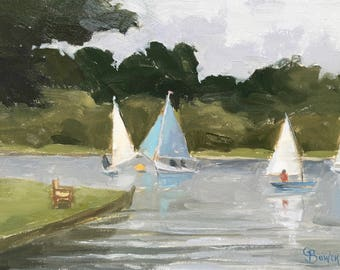 Landscape Original Oil Painting Framed, Yachts Frensham Pond