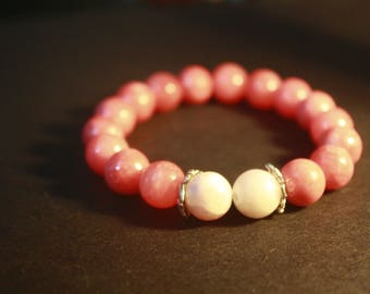 Pink quartzite with 'unicorn' dyed agate accent beads