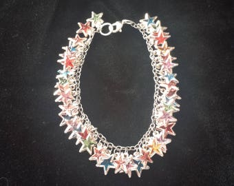 Star Charm Bracelet (Silver-Toned, Multi-Colored) ***FREE SHIPPING***