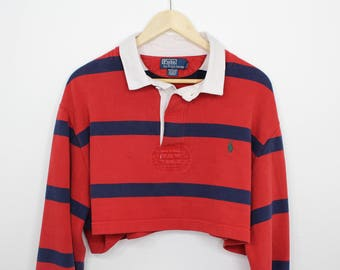 Vintage Striped Polo by Ralph Lauren Cropped Button Up Long Sleeve