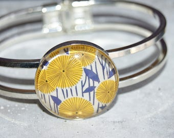 Bangle silver cabochon 25 mm flowers