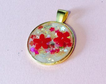 Kawaii Cute Red and White Floral Handmade ONE OF A KIND Pendant