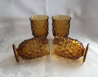 Vintage amber glass juice glasses