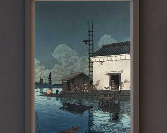 Art Print - Shin-Hanga Japanese Art Titled Rain at Ushibori (1929) by Kawase Hasui