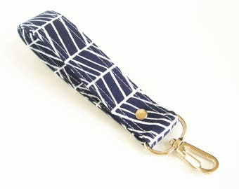 Navy Key Chain, Navy Herringbone Key Fob, Striped Key Holder, Blue Keychain Wrist Strap, Wrist Key Lanyard, Short Lanyard Strap