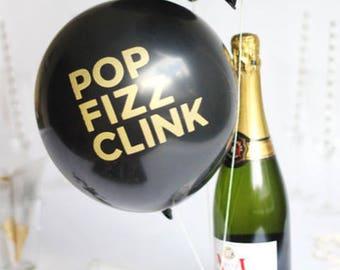 Black Balloons, POP FIZZ CLINK Balloons