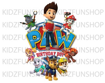 Birthday Boy Paw Patrol Iron On Transfer, Paw Patrol High Resolution Iron On Transfer, Digital File Only, Instan Download