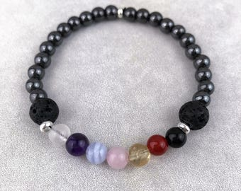 Chakra Bracelet with Sterling Silver and Lava Beads
