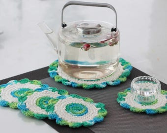 Flower Potholders, Potholders, Crochet Potholders, Delicate Potholders, House Warming Gift, Gift Set, Teacup Holder, Holder Set - S5