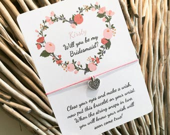 Will you be my Bridesmaid Wish Bracelet - Hens - Bridesmaid Gift - Personalised