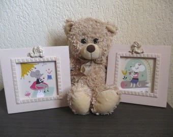 "Child frames Duo ""Oh love!"" two cute mice"