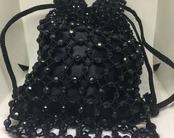 Vintage Black Beaded Victorian Styled Drop Evening Handbag