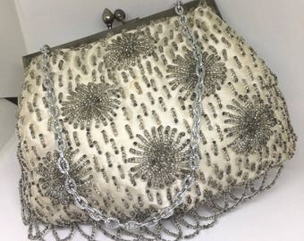 Vintage 1960's Beaded Satin Evening Handbag -Made in Old Hong Kong 1920's Inspired