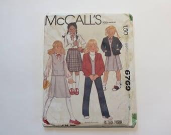 Vintage 1960s McCall's Pattern #6769: Girls' Jacket, Vest, Skirt, & Pants; Size 14 UNCUT