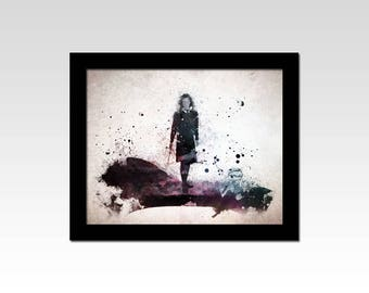 Harry Potter inspired Hermione Granger watercolour effect print