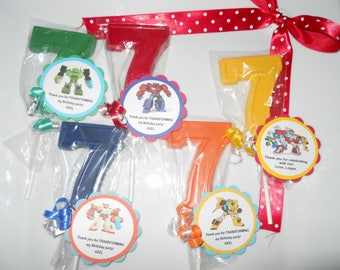 12 Transformers Rescue Bots 7th Birthday Party Favor Gourmet Chocolate Party Favors with custom tags