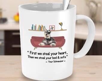 Schnauzer gifts - Schnauzer steal your heart bed sofa- Schnauzer mug