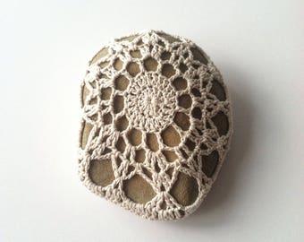 Crocheted River Stone no. 2 / Crochet Covered Stone, Crochet Rock, Mandala Stone, Altar Stone, OOAK Decor, Wedding, Housewarming Gift
