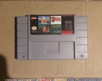 Super 4 in 1 snes Nintendo multicart Zelda link to the past parallel worlds Secret of mana 1&2