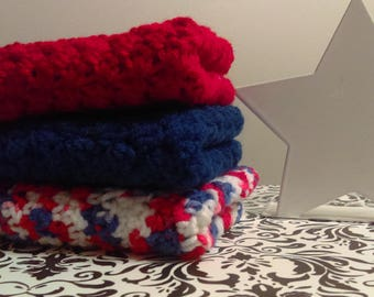 Crochet Dishcloth Set, Patriotic Present, Kitchen Decor, Kitchen Towels, Knit Dishcloth, Crochet Washcloth Set, Housewarming Gift
