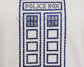 Doctor Who Inspired Sparkly Police Box Embellished Top