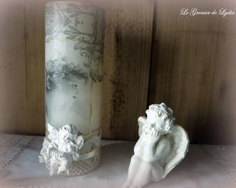 Candle decorated with angels and lace old 19 cm