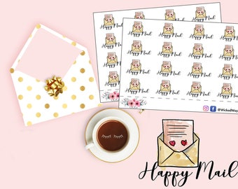 Happy Mail Planner Stickers, Mail Planning Sticker, Send Mail Reminder Sticker, Planner Stationary Accessories, Scrapbook Stickers