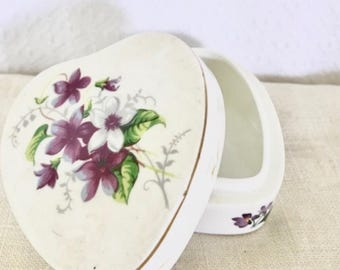 Vintage Purple Flower Trinket Box