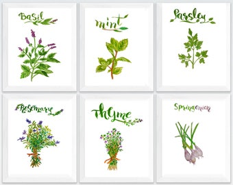 basil print, Herb print set, set of 6 prints, herb set, Herbs kitchen art, Herbs kitchen wall décor, Rosemary print, kitchen decor herbs