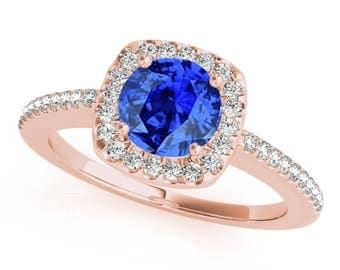 1.10 Ct. Halo Tanzanite And Diamond Engagement Wedding  Ring In 14k Gold
