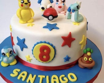 Edible Pokemon cake toppers sets ( everything in the picture ) handmade fondant sugar paste