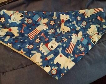 Dogs 4th of July dog bandana that collar goes thru!