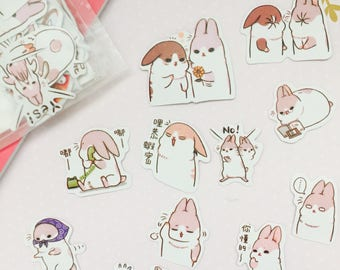 One pack of kawaii chubby rabbit stickers/ chubby bunny stickers