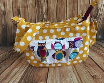 Crossbody bag, Owl bag, mustard polka dot bag