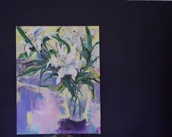 Handmade acrylic still life~Lilies