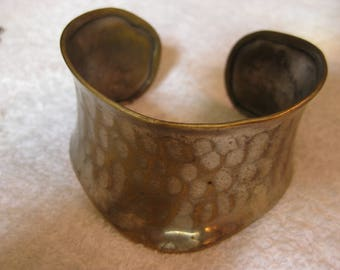 Hammered Wide Brass Cuff