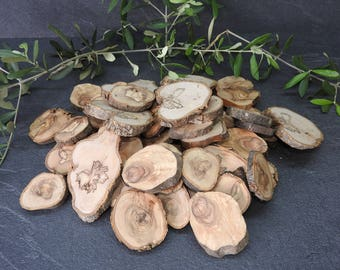 40 PCs (1.0 kg) olive wood slices, olive wood tree grates