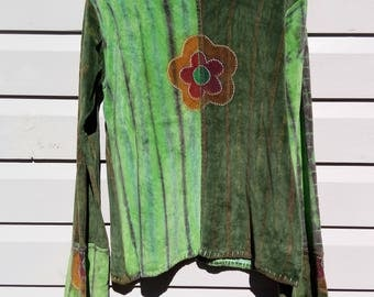 Green Velvet Tie-Dyed Shirt