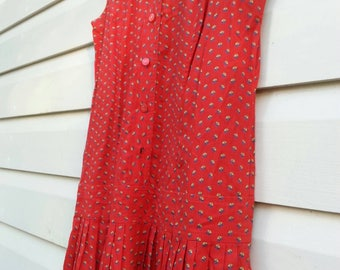 Red drop waist dress