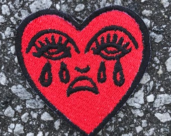 Tear Heart Embroidered Sew On Iron On Patch DIY Emojis