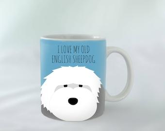 I Love my Old English Sheepdog Mug personalised | Different colours available | Custom name mugs | Dog Mug