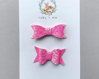 Hot Pink Glitter Bow, Classic Bow, Chunky Bow