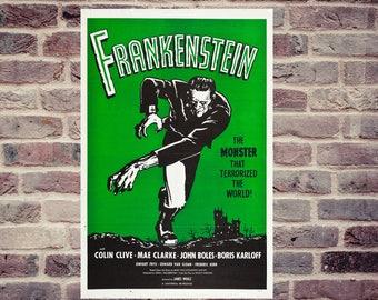Frankenstein movie poster. Boris Karloff, Colin Clive... movie poster. vintage poster.